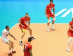 They show the golden volleyball trophy in Burgas